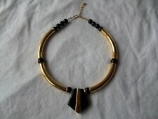 Vtg STATEMENT RUNWAY NECKLACE, Curved Gold Segments Black Beads Pendant Bib