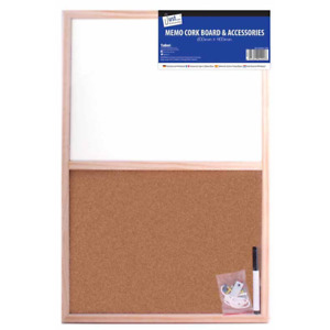 600 x 400mm Pine Framed Cork White Wipe Combo Board Message Notice Memo With Pen