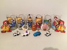 Vintage Ronald McDonalds Glass Set Toys Button Collection Collectibles Lot