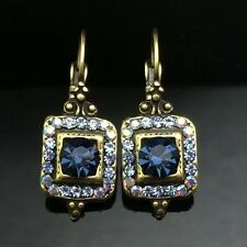 SWAROVSKI Antique Lantern Navy Blue Crystal Earring Wedding Diamante Gold Square