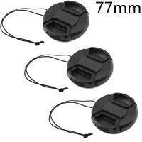 3x 77mm Center Pinch Snap-On Lens Cap w/ Leash For Canon Nikon Sony DSLR Camera
