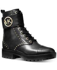 MICHAEL KORS TATUM ICONIC Black Gold Studded COMBAT BIKER BOOTS I LOVE SHOES