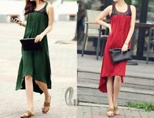 Cotton Blend Asymmetrical Hem Regular Size Dresses for Women