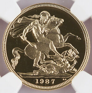 Great Britain UK 1987 Pound/Sovereign 0.2354 Oz AGW Gold Proof Coin NGC PF69 UC