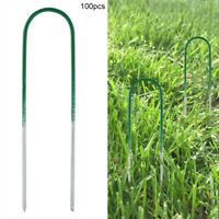 100Pcs Artificial Grass Turf Steel U-shaped Pins Weed Stakes Pegs for Garden