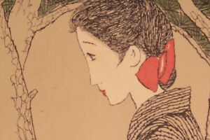 JAPANESE HANGING SCROLL JAPAN BEAUTY Yumeji Takehisa PRINT Art PICTURE d646