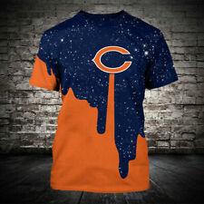 Chicago Bears Football Shinning T-shirt Summer Casual Sports Short Sleeve Shirt