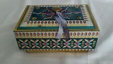 Vintage TIN West Germany Bisquit BOX w Knobbed Lid Candy Decorative Stamped