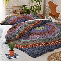Indian Hippie Queen Size Floral Mandala Duvet Doona Quilt Cover Boho Bedding Set