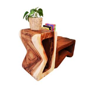 B Shape Raintree Wood Side Corner Table Plant Stand