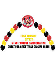 Red Minnie Mouse Birthday Party BALLOON ARCH for Cake Table Gift Table Disney