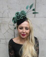 Bottle Green Velvet Statement Rose Feather Flower Hat Hair Fascinator Races 6967