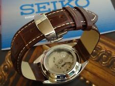 REPLACEMENT BROWN LEATHER STRAP + DEPLOYMENT BUCKLE TO FIT SEIKO 5 OLDER SHAPE