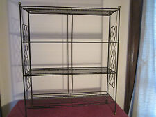 1950's/60's gold painted metal bookcase with lattice work sides and shelves