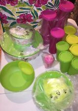 New 28 Pc TUPPERWARE Tulips Serving Set, 12 Tumblers, 6 Bowls W/dip Trays++