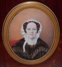 OLD ANTIQUE Fine Art Miniature Portrait PAINTING 19th Century Primitive artwork