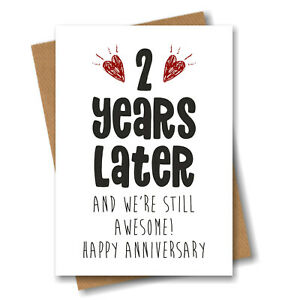 2nd Anniversary Card - 2 Years Later Still Awesome - Him Her Wedding Second
