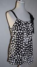 Carole Little Black White Geo Print Stretch Knit Top w/ Tie Neckline Size Small
