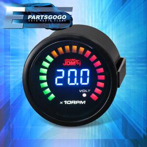 """For EVO WRX Eclipse 2"""" 52MM RPM Tachometer Volt Blue Digital LED Car Gauge Meter"""
