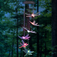 Color-Changing LED Solar Powered Dragonfly Wind Chime Lights Yard Garden Decor