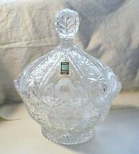 Candy Bowl With Lid Avitra Large Hand Cut Bulgaria Crystal Dome Oval Shape New