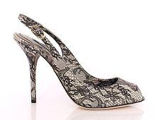 NWT £370 DOLCE & GABBANA Lace-Print Sling Back Peep-Toe Pumps Leather EU39/UK6