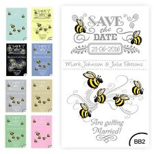 30 Save the Date Wedding Magnet Cards+ Envelopes Vintage Bumble Bees any colour