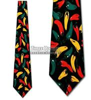 Hot Peppers Tie Food Neckties Chili Peppers Mens Neck Ties Brand New