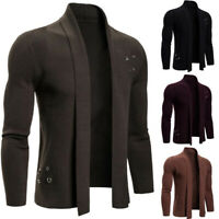 Men Slim Fit Long Sleeve Knitted Cardigan Slim Trench Coat Jacket Casual Sweater