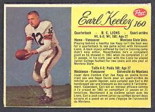 1963 POST CFL FOOTBALL #160 EARL KEELEY B C LIONS VG-EX MONTANA STATE UNIV