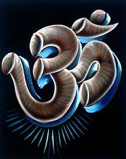 "Painting On Velvet Cloth Colorful Aum Size 20"" X 16 Best Price Free Shipping"