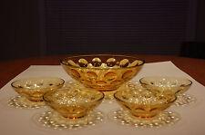 Five (5) Piece Vintage HAZEL ATLAS Gold EL DORADO 1960's Glass Bowls