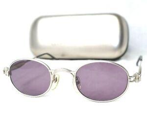 Jean Paul Gaultier 56-7113 sunglasses silver gray purple hologram oval small