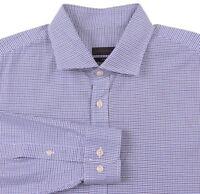CURRENT Ermenegildo Z Zegna Blue Houndstooth Cotton SLIM FIT Dress Shirt 17.5