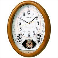 SEIKO CLOCK Disney Wall Clock Mickey & Minnie Light Brown FW575B from JAPAN F/S