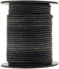 Gray Distressed Natural Dye Round Leather Cord 2mm 10 meters (11 yards)