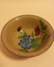 A very fine quality vintage JINGFA Chinese cloisonne enamel bowl floral brass