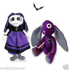 "2 x Sewing-PATTERNS 11"" Amethyst Gothic Bunny & 10"" Vesper Gothic Rag Doll"