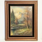 Vintage Frames Oil on Canvas Painting L. Harding Mountain Forest Lake Stream