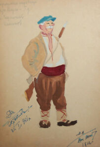 Vintage gouache drawing man hunter theatre/opera costume design signed