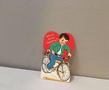 Vtg Valentine Card Norcross Little Boy Rides Bike Bicycle 50's 60's