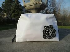 NEW - Lancome cosmetic/makeup bag - White - zipper teeth flower in front