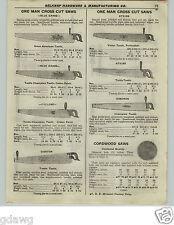 1922 PAPER AD Atkins Simonds Blue Grass 1 One Man Cross Cut Saw