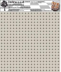 "Dollhouse Flooring 6 mil Peel & Stick Vinyl 12"" x 12"" Design 003 Beige Tiles"