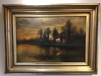 Antique vintage Edwardian  gilt framed signed original oil painting F E Jamieson