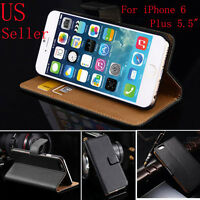 New Luxury Genuine Real Leather Flip Case Wallet Cover For iPhone 6 6 plus