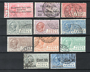ITALY 1917-1928 ITALIAN AIR COMPLETE SETS OF USED STAMPS PMK INTEREST
