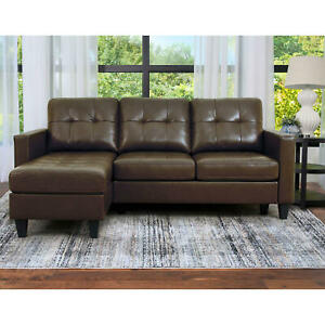 Ashbury Tufted Reversible Sectional Sofa Couch Set Living Room Furniture Leather