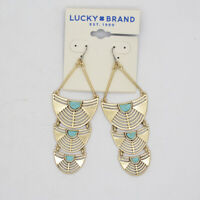 lucky brand women jewelry vintage gold tone pave hoop earrings turquoise dangle