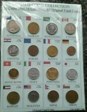 LOT OF 16 COINS FROM 16 COUNTRIES IN A NICE DISPLAY # CN16